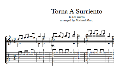 Picture of Torna A Surriento Sheet Music & Tabs
