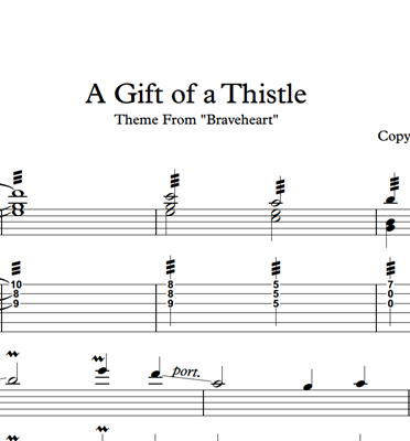 Picture of A Gift Of A Thistle (Braveheart) Sheet Music & Tabs
