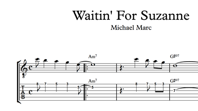 Image sur Waitin' For Suzanne Sheet Music & Tabs