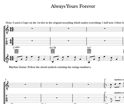 Image sur Always Yours Forever - Sheet Music & Tabs