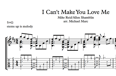 Hình ảnh của I Can't Make You Love Me - Sheet Music & Tabs