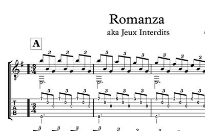 Hình ảnh của Romanza (Jeux Interdits) Sheet Music & Tabs