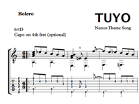 Picture de Tuyo (Narcos Theme Song) Sheet Music & Tabs