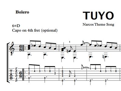 Hình ảnh của Tuyo (Narcos Theme Song) Sheet Music & Tabs