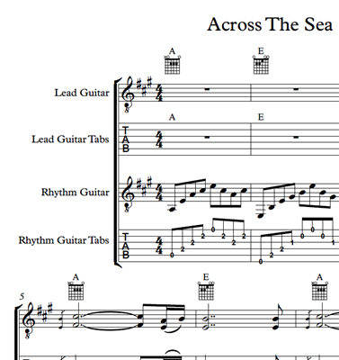 Picture of Across The Sea Sheet Music & Tabs