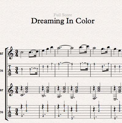 Image sur Dreaming In Color - Sheet Music & Tabs